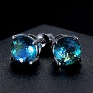 8mm Sterling Blue Tourmaline Stud Earrings